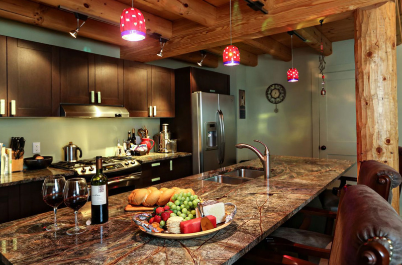 Log home interior kitchen design