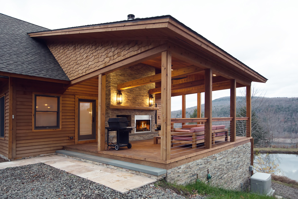 Beaver Mountain Log Homes Country Cubco Timber Shed Porch
