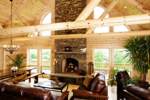 Beaver Mountain Log Homes Lee Stone Fireplace