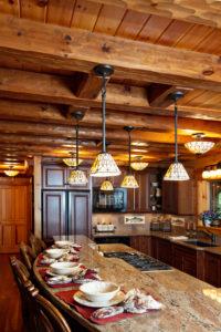 Beaver Mountain Log Homes River Side Lodge Kitchen