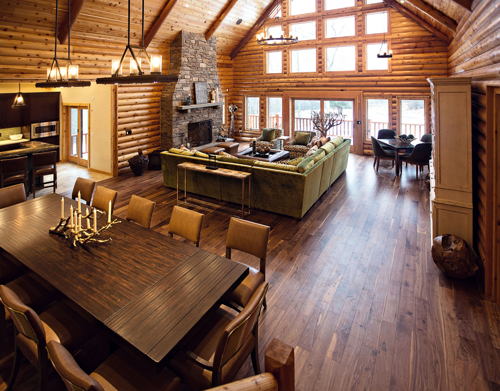 Beaver Mountain Log Homes Cedar Crest Cabin Great Room