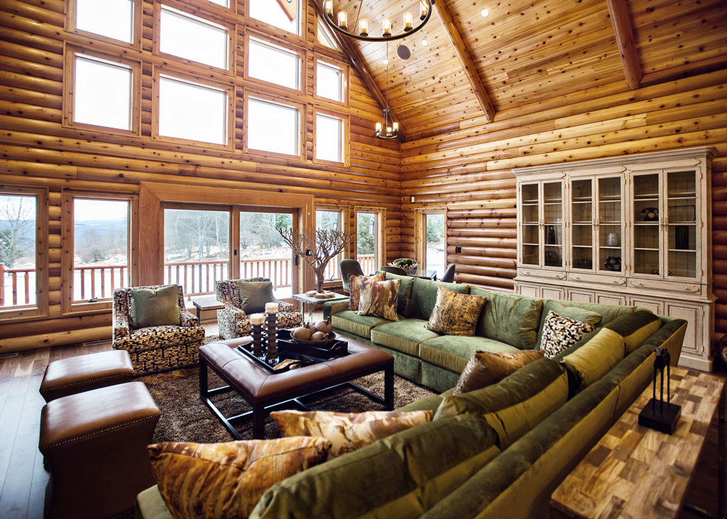 Beaver Mountain Log Homes Cedar Crest Cabin Living Room