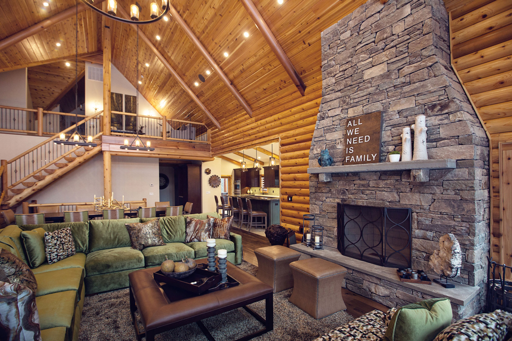 Beaver Mountain Log Homes Cedar Crest Cabin Stone Fireplace