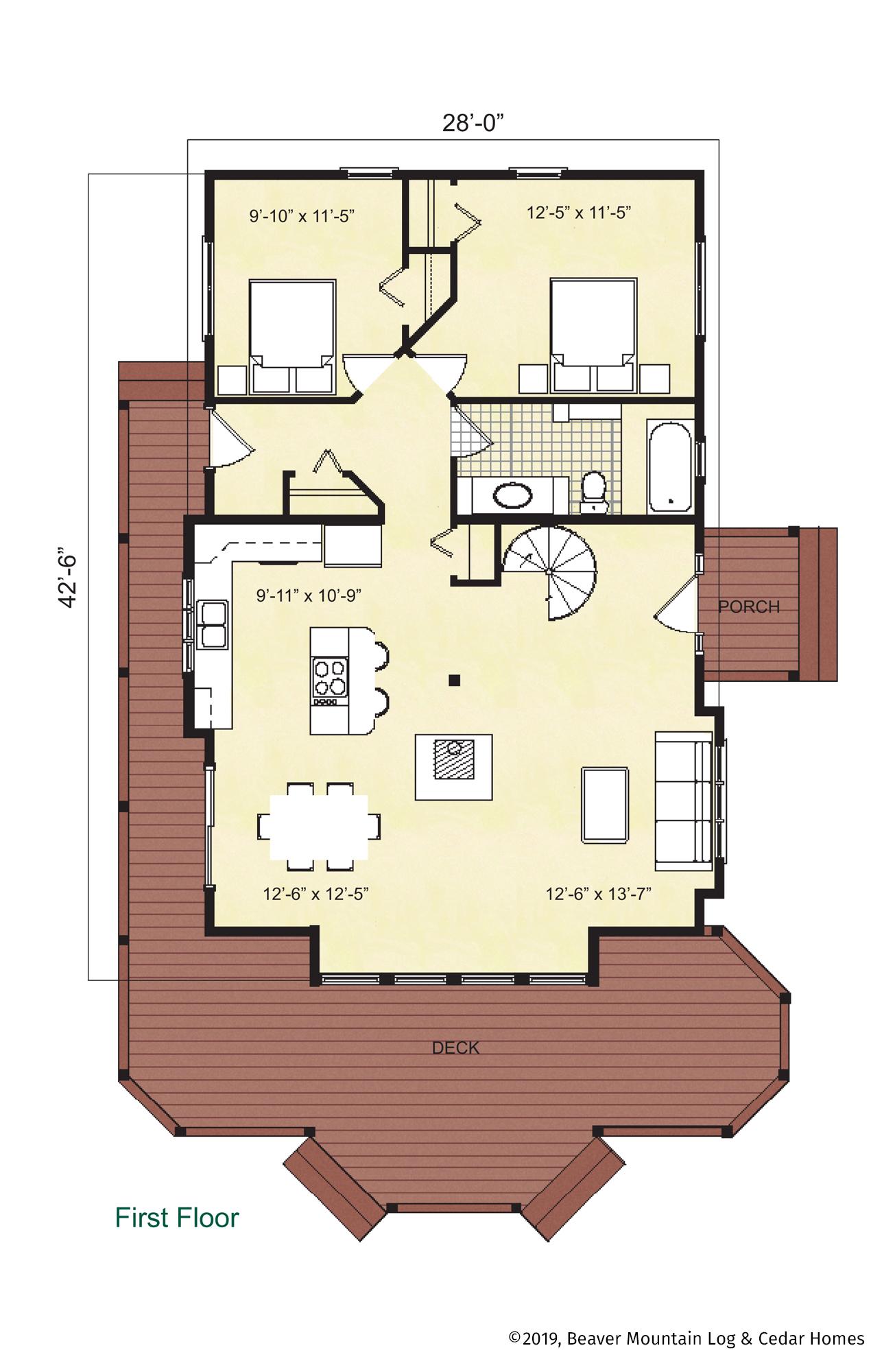 Beaver Mountain Log Homes Cedar Ridge Timber Home Main Level Floor Plan