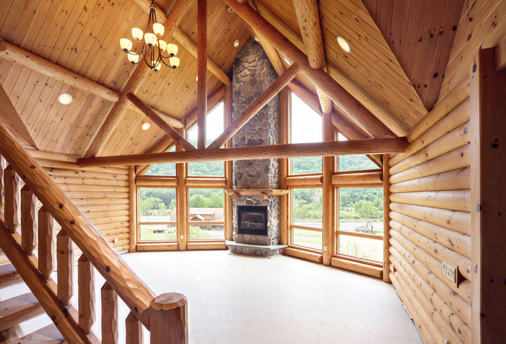 Beaver Mountain Log Homes Grandview Model Home Great Room