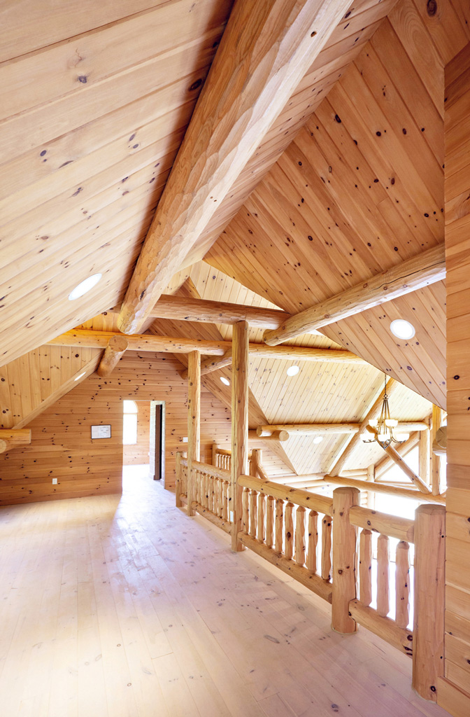 Beaver Mountain Log Homes Grandview Model Home Loft