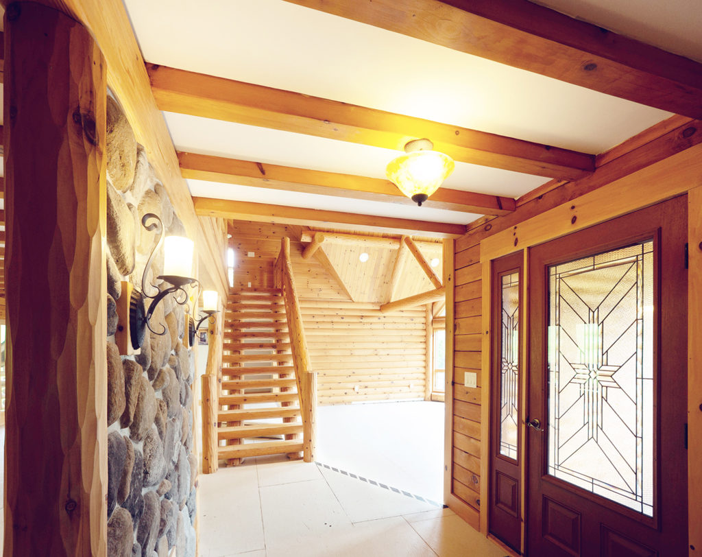 Beaver Mountain Log Homes Grandview Model Home Timber Stairs