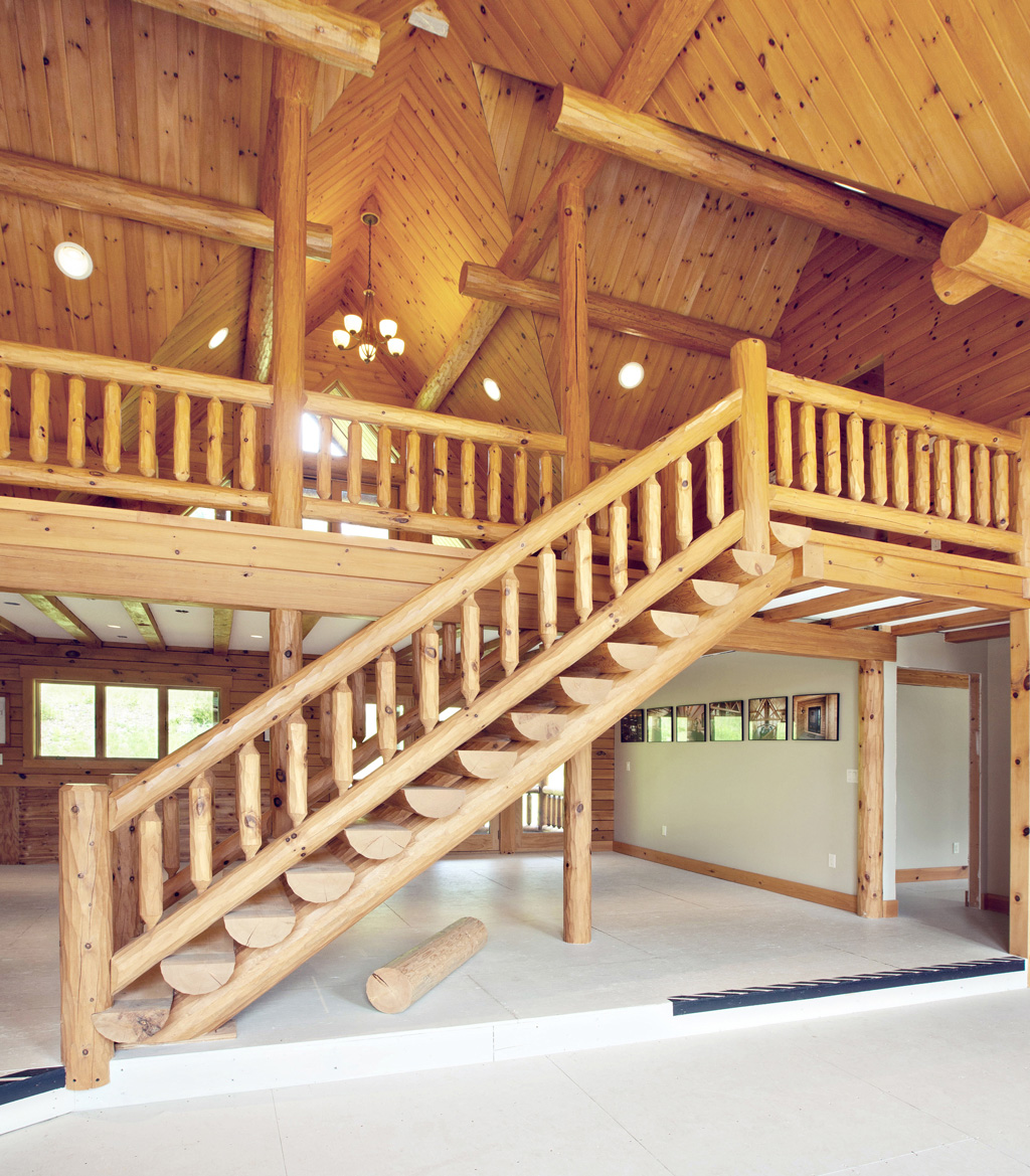 Beaver Mountain Log Homes Grandview Model Home Timber Stairs To Loft