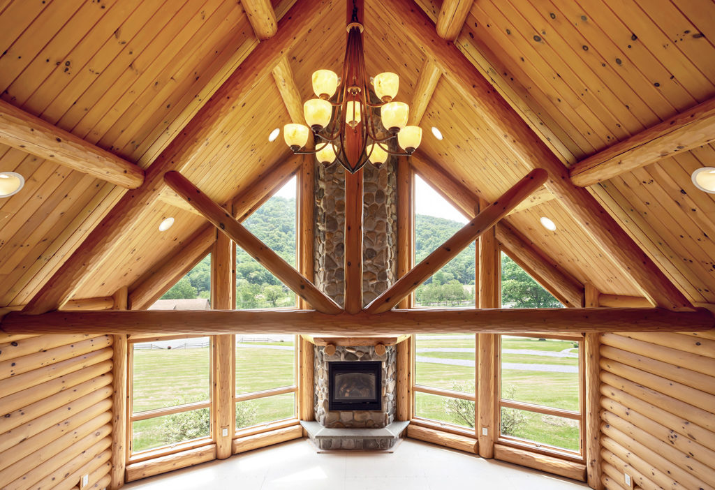 Beaver Mountain Log Homes Grandview Model Home Timber Trusses Great Room