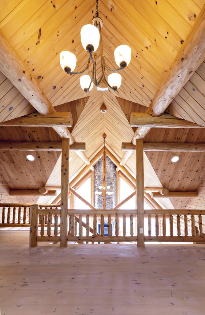 Beaver Mountain Log Homes Grandview Model Home Timber Trusses