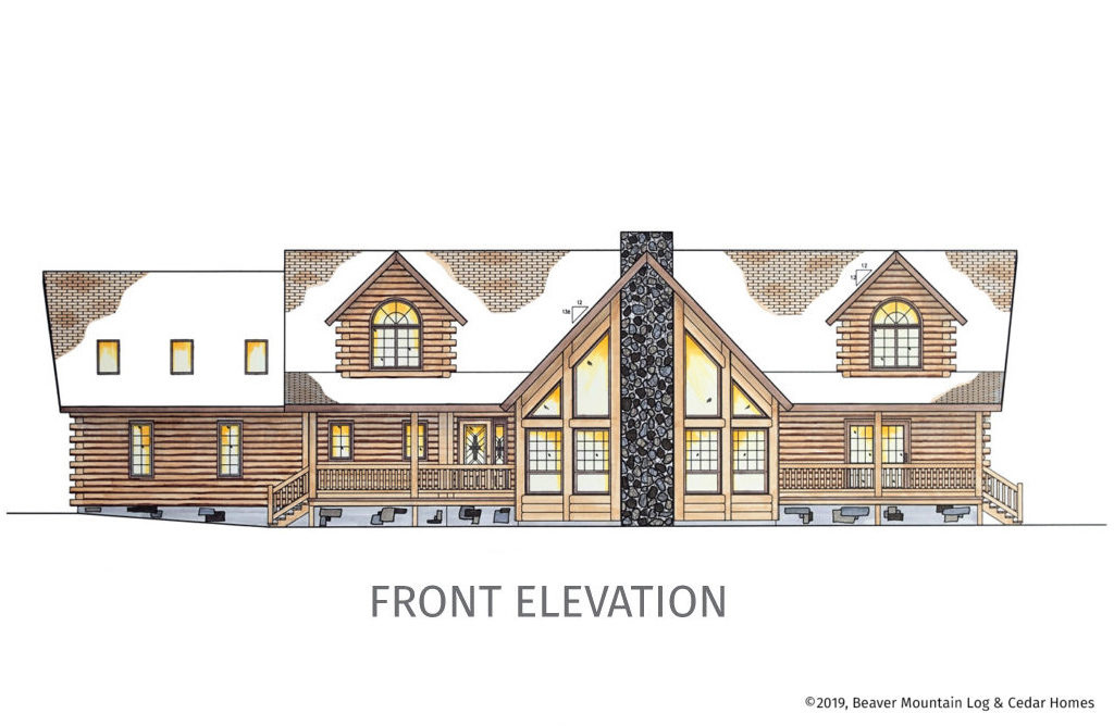 Grandview Log Home Front Elevation