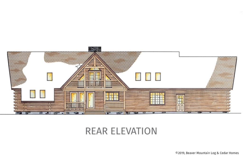 Grandview Log Home Rear Elevation