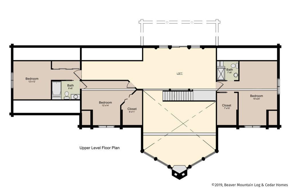 Grandview Log Home Upper Level