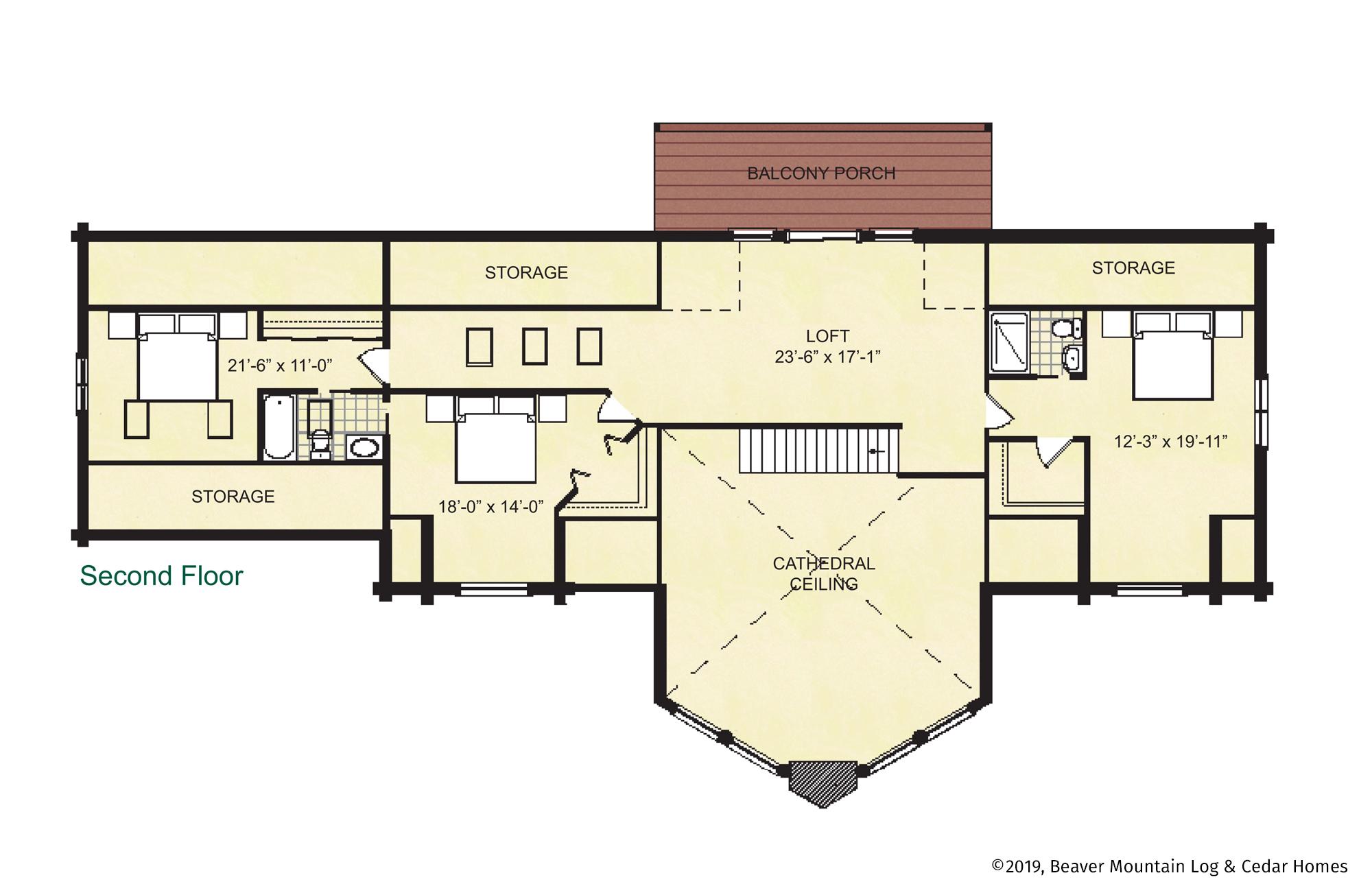 Beaver Mountain Log Homes Grandview Upper Level Floor Plan