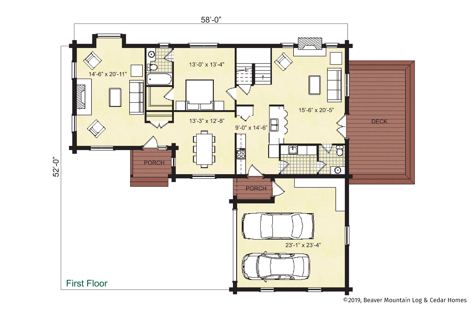 Beaver Mountain Log Homes Burlington Main Level Floor Plan