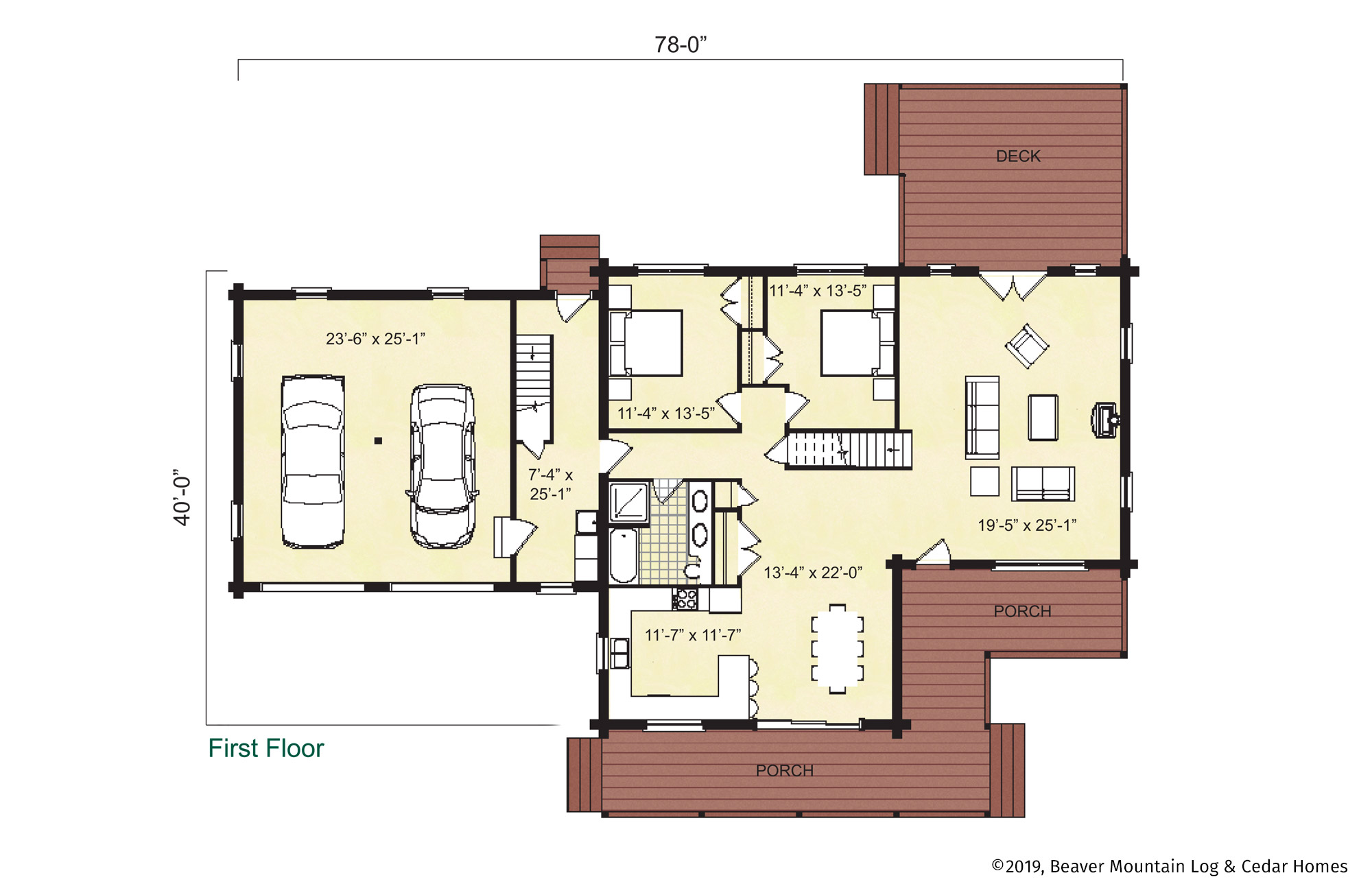 Beaver Mountain Log Homes Classic Lodge Main Level Floor Plan