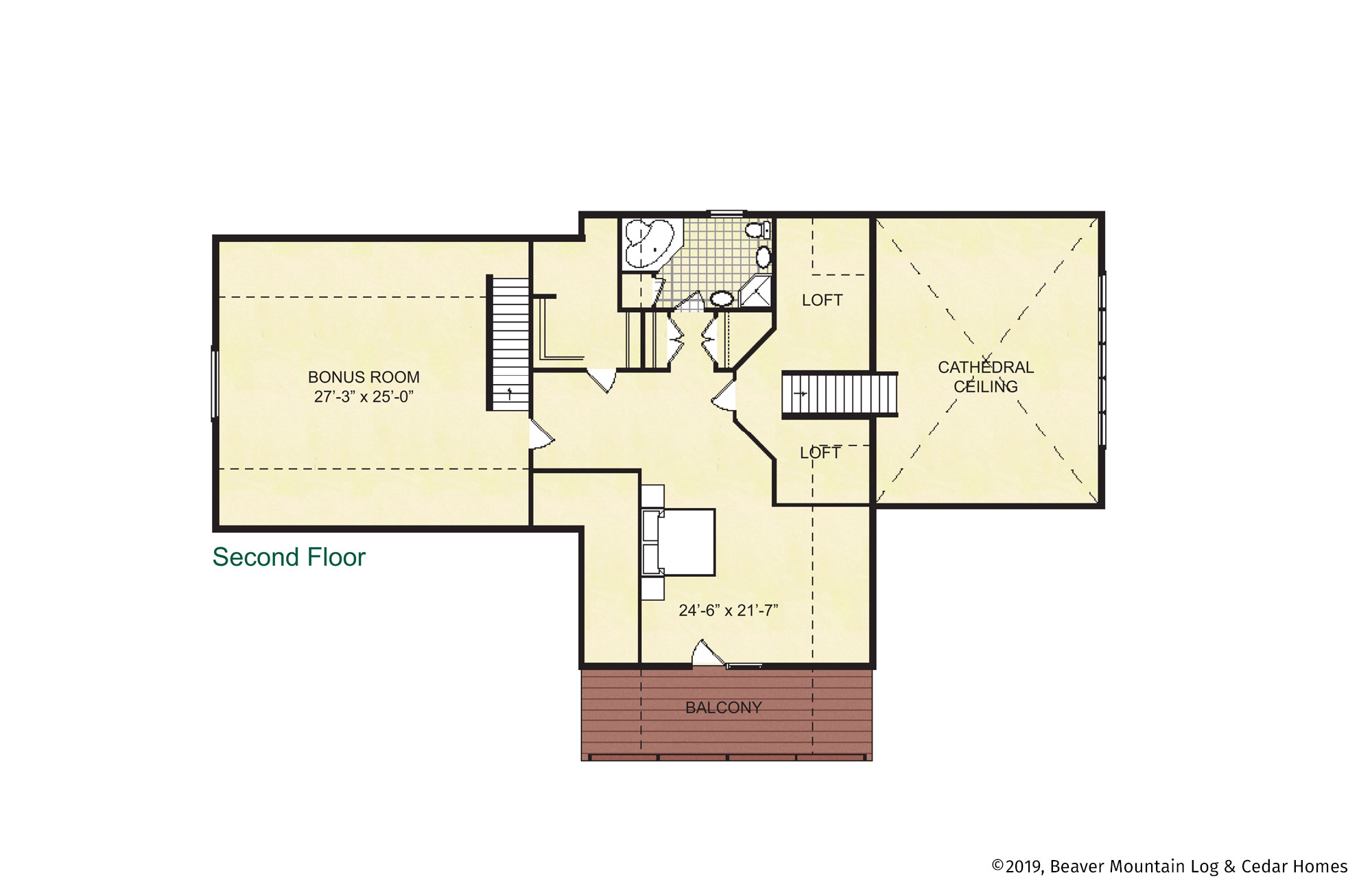 Beaver Mountain Log Homes Classic Lodge Upper Level Floor Plan