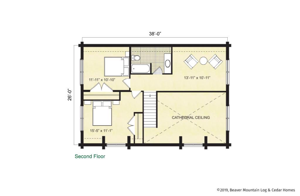 Beaver Mountain Log Homes Cochecton Upper Level Floor Plan