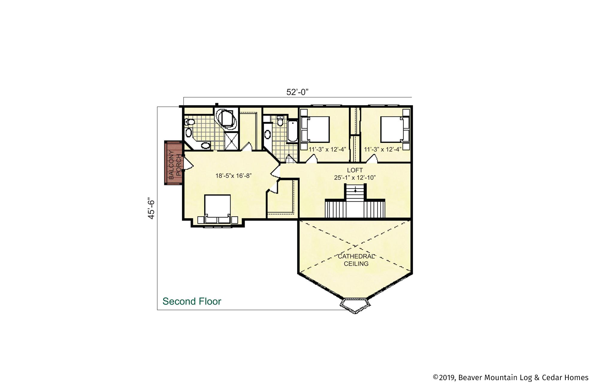 Beaver Mountain Log Homes Grand George Upper Level Floor Plan