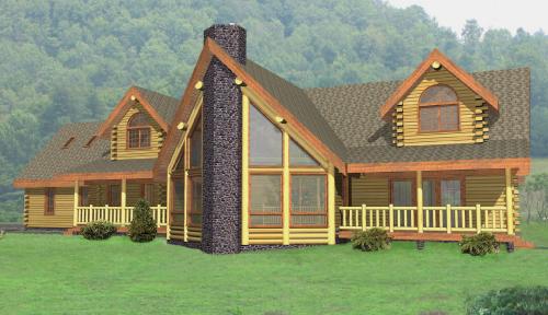 Grandview Log Home Model Classic Floor Plan