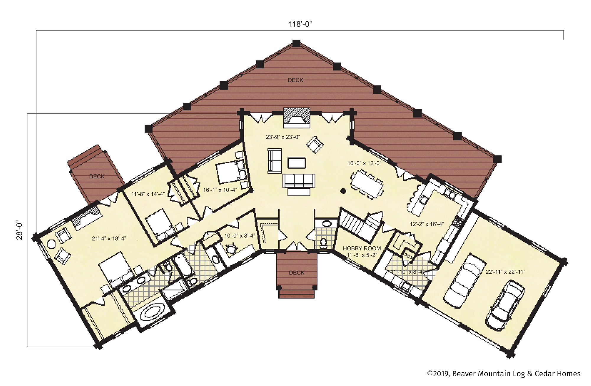 Beaver Mountain Log Homes Hunter Mountain Main Level Floor Plan