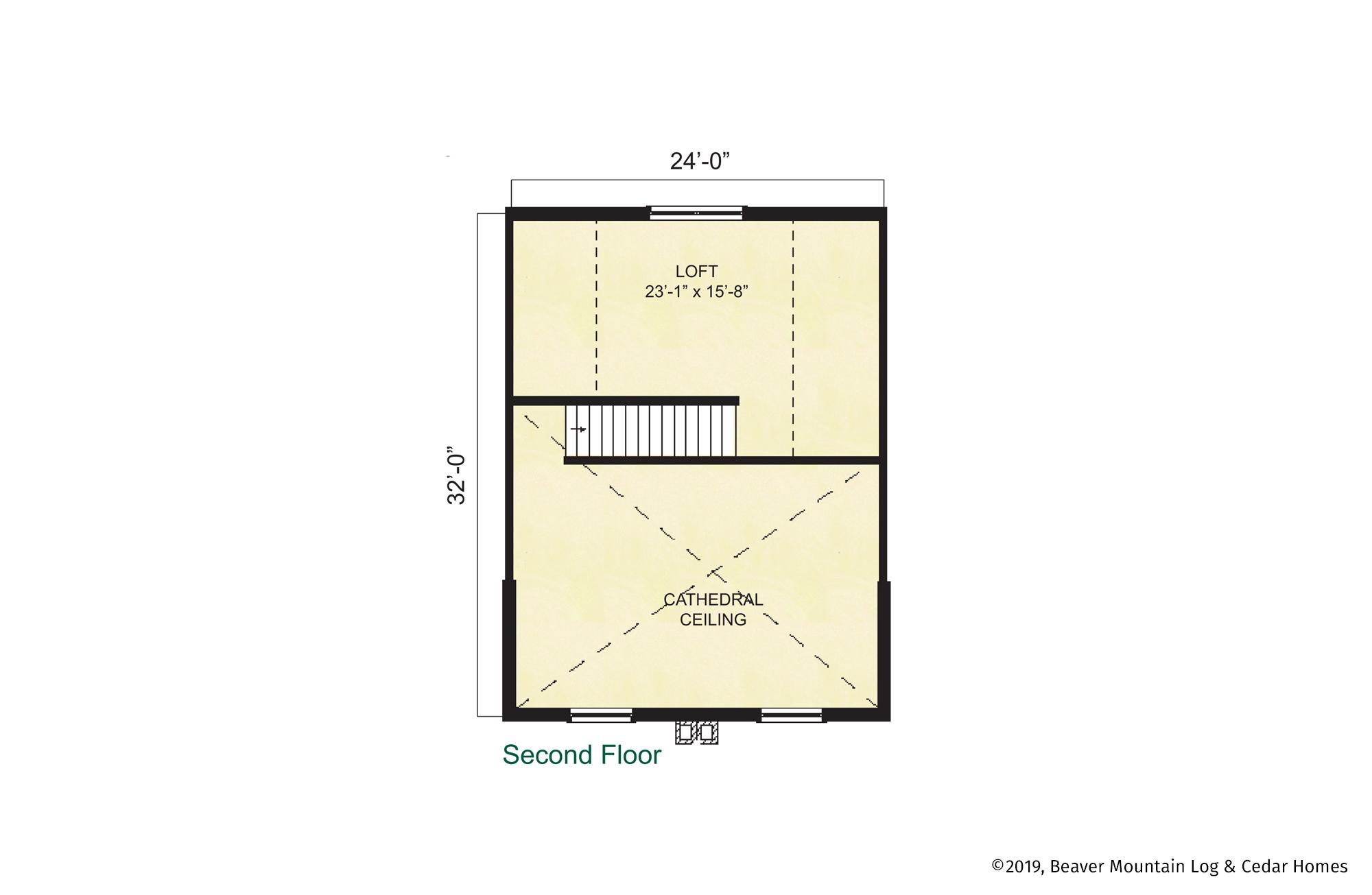 Beaver Mountain Log Homes Lexington Upper Level Floor Plan