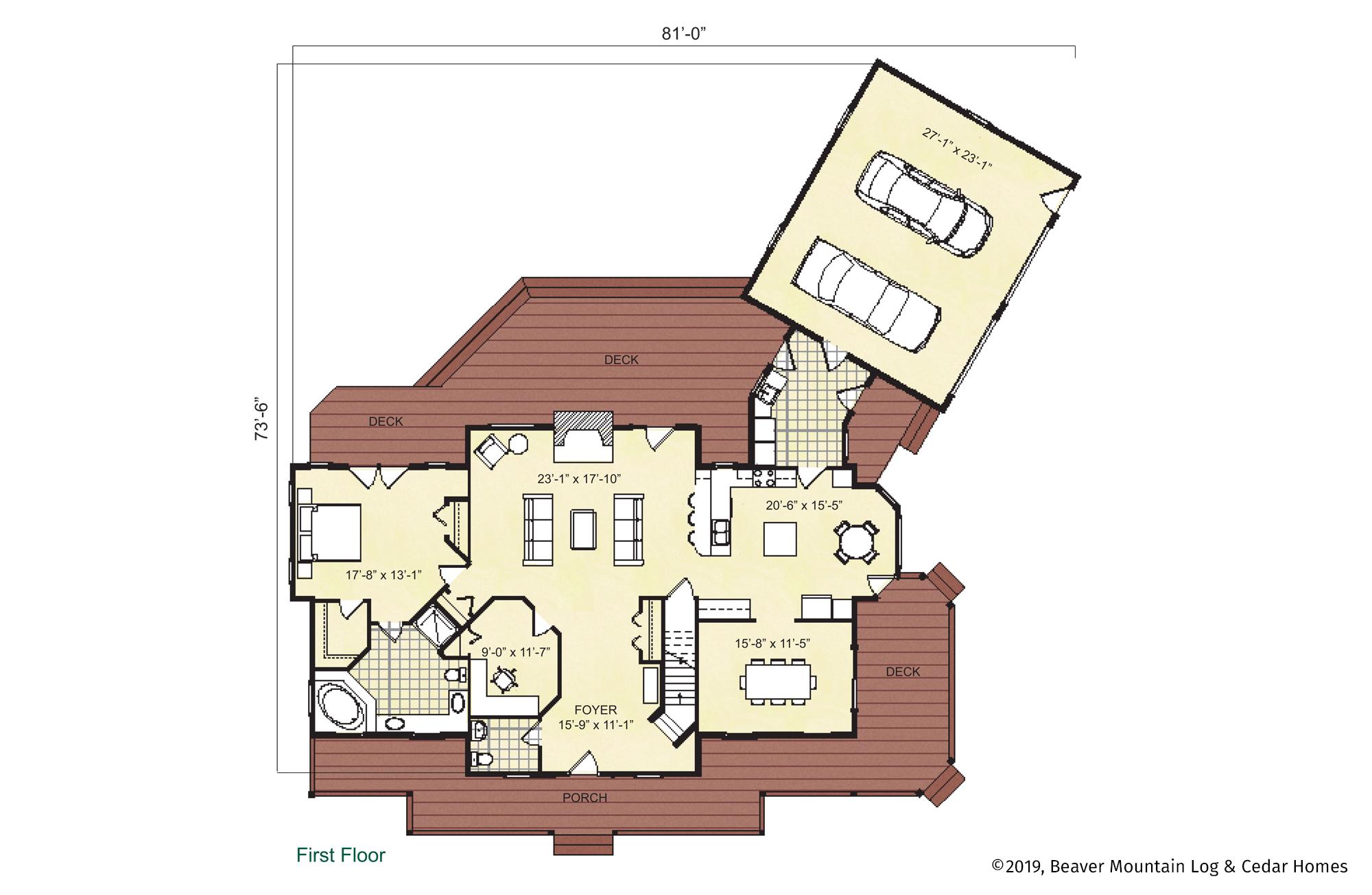 Beaver Mountain Log Homes Mount Vernon Main Level Floor Plan
