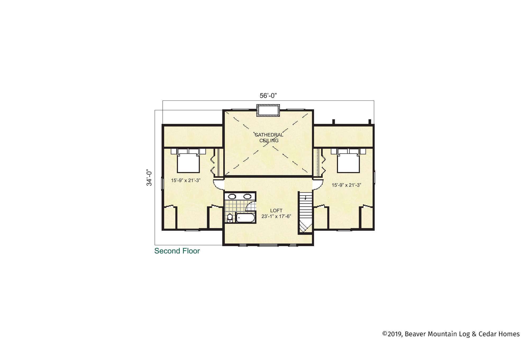 Beaver Mountain Log Homes Mount Vernon Upper Level Floor Plan