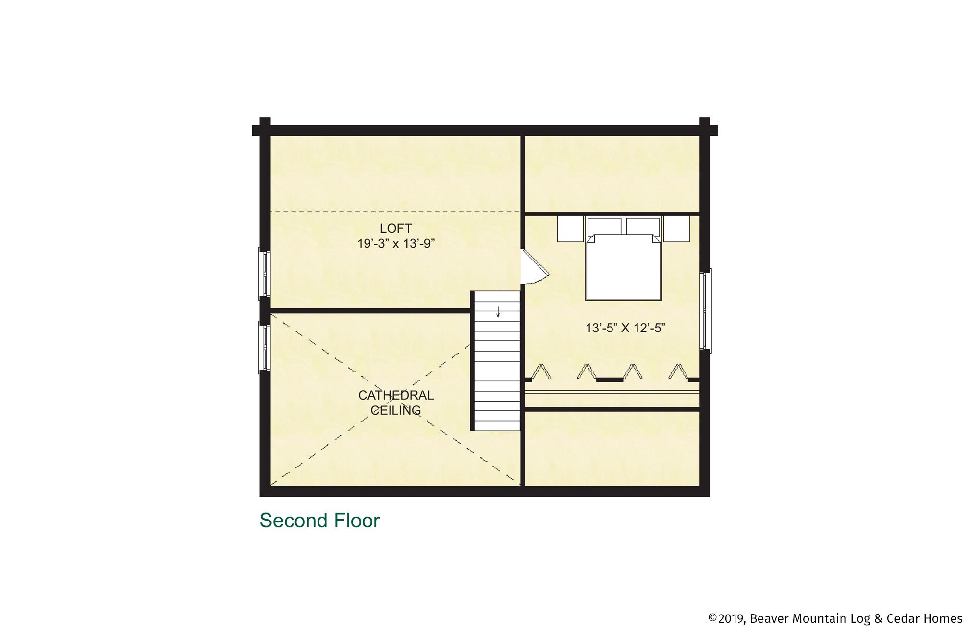 Beaver Mountain Log Homes Phoenicia Upper Level Floor Plan