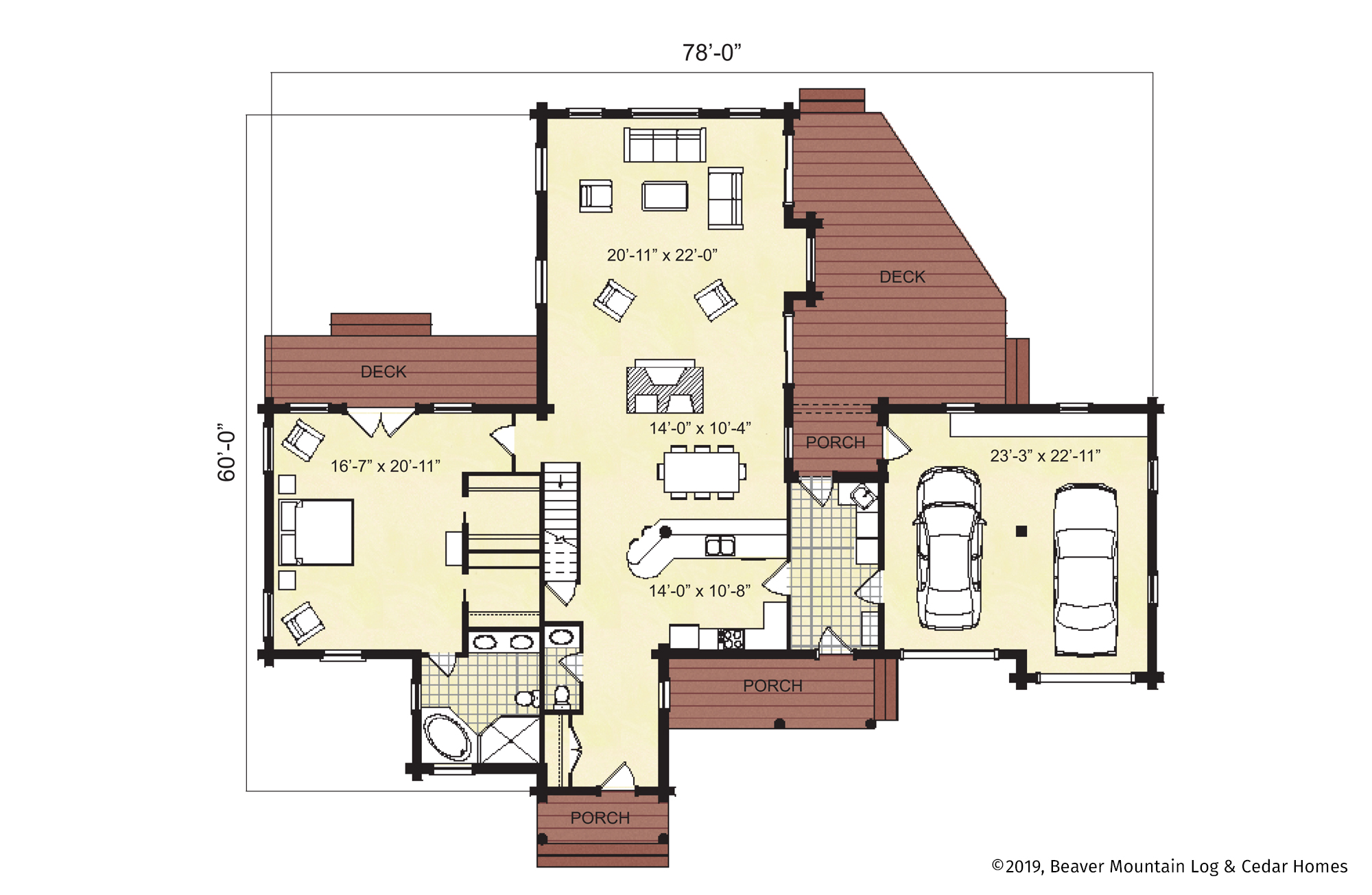 Beaver Mountain Log Homes Saratoga Springs first floor plan