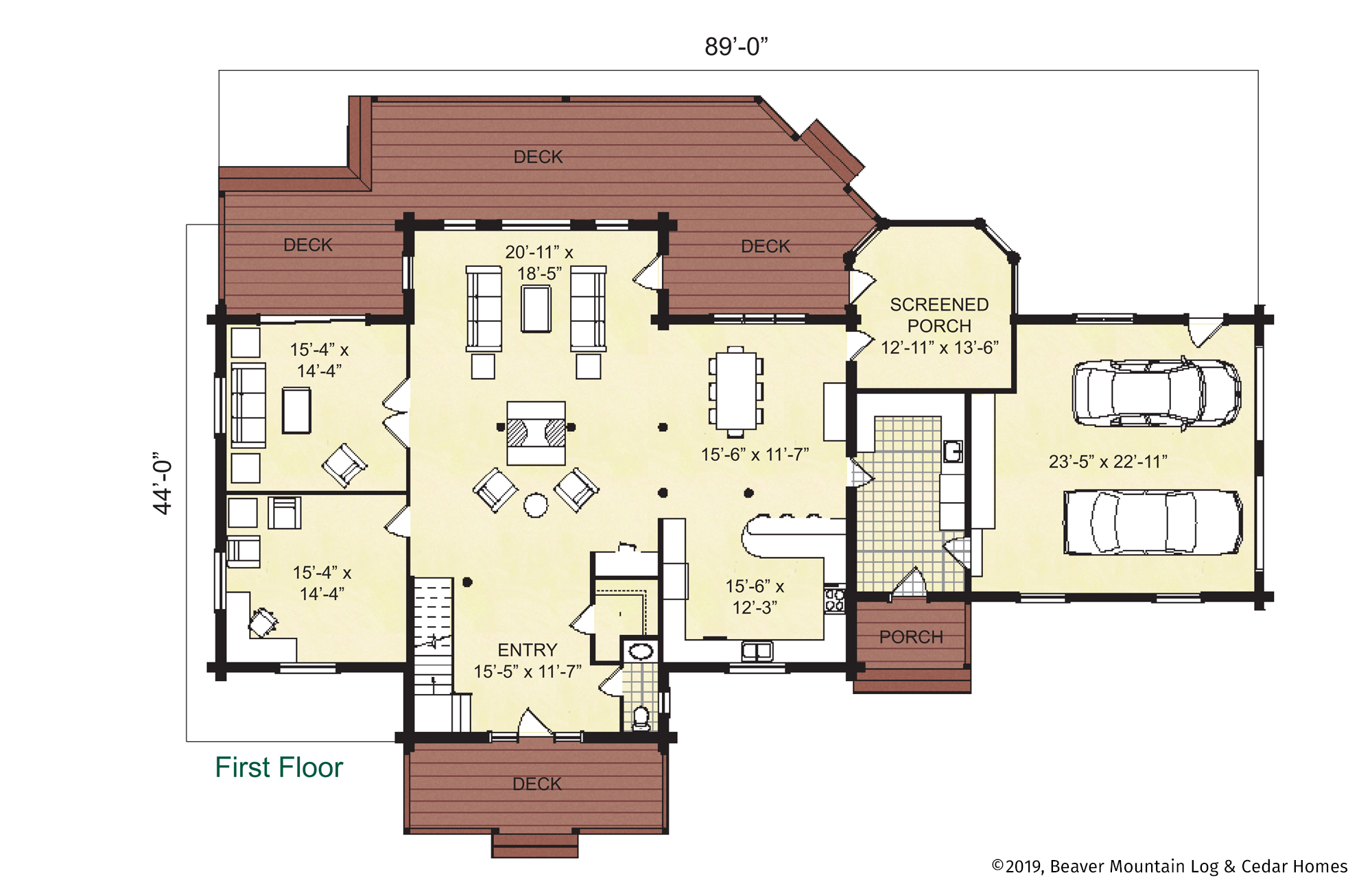 Skaneateles Log Home First Floor Plan