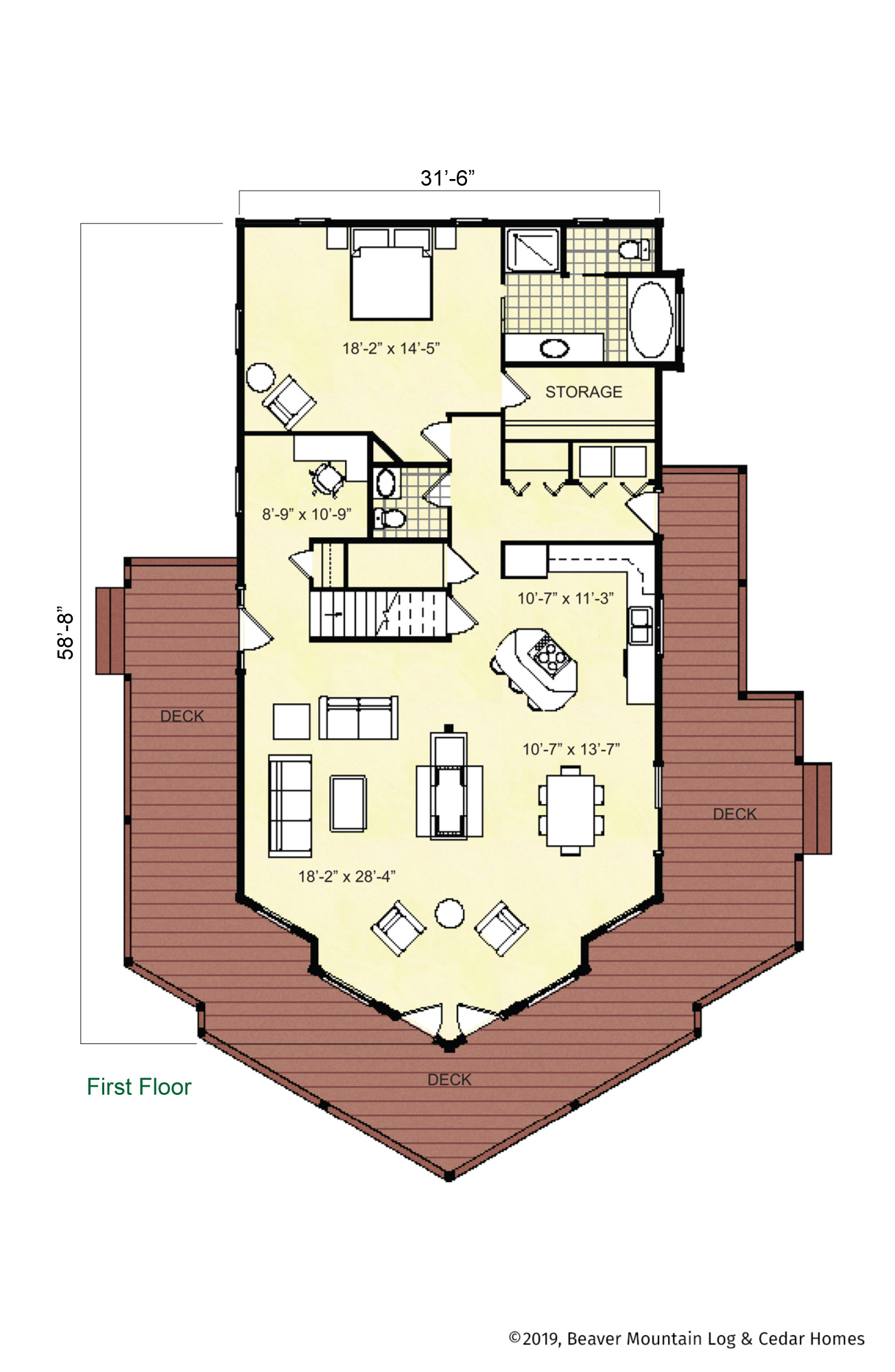 Beaver Mountain Log Homes Tupper Lake Timber Home Main Level Floor Plan