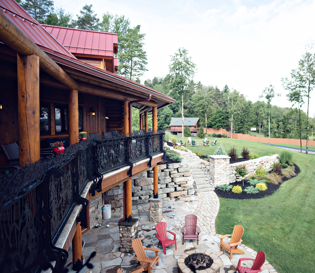 Log Home Landscaping with Fire Pit