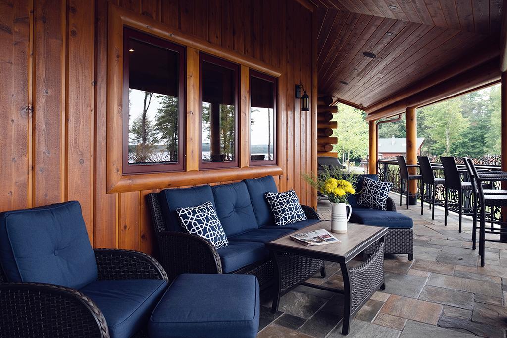 Beaver Mountain Log Homes Kuyahoora Lodge Cedar Hybrid Home Porch