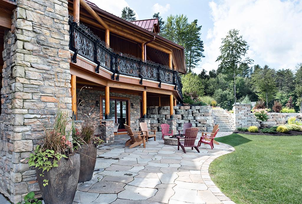 Beaver Mountain Log Homes Kuyahoora Lodge Cedar Hybrid Home Stone Patio