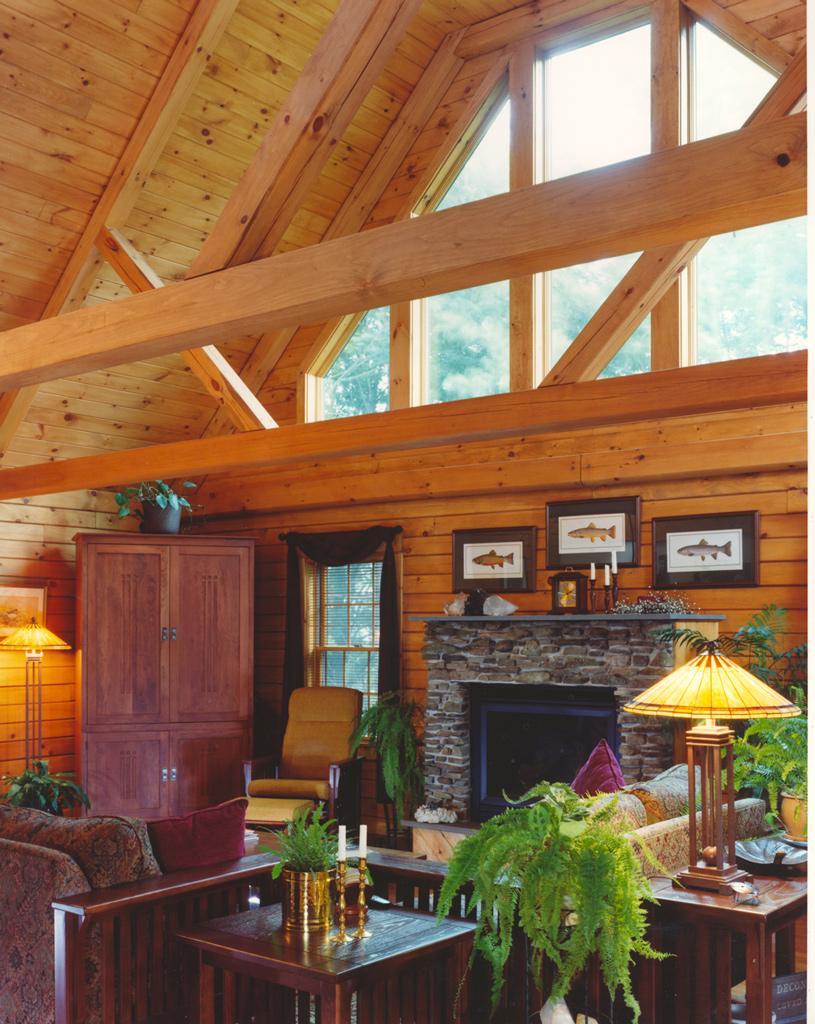 Beaver Mountain Classic Lodge Log Home Living Room Timber Truss