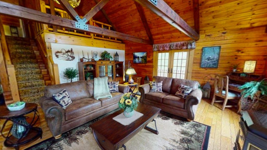 Beaver Mountain Log Homes Classic Lodge Living Room